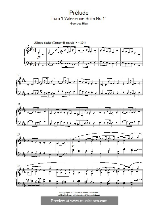 Suite I: Prelude, for piano by Georges Bizet