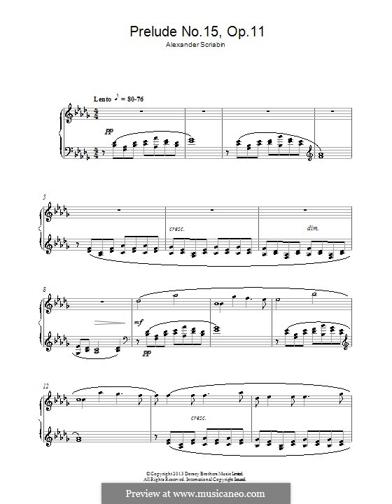 Twenty-Four Preludes, Op.11: Prelude No.15 by Alexander Scriabin