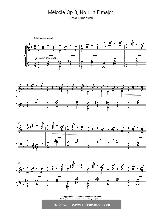 Two Melodies, Op.3: Melody No.1 in F Major by Anton Rubinstein