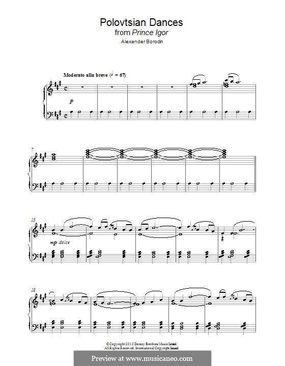 Polovtsian Dances: Theme, for piano by Alexander Borodin