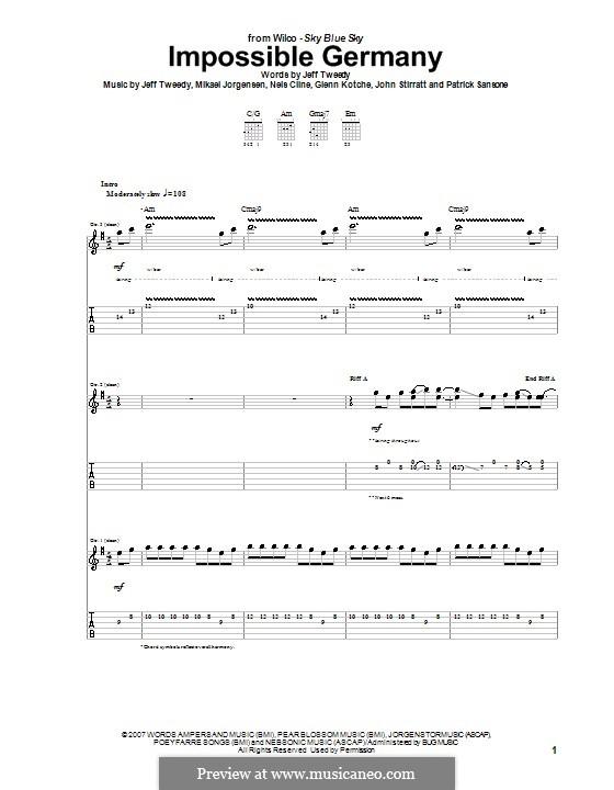 Impossible Germany (Wilco): For guitar with tab by Glenn Kothche, Jeff Tweedy, John Stirratt, Mikael Jorgensen, Nels Cline