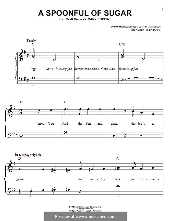 A Spoonful of Sugar: For piano by Richard M. Sherman, Robert B. Sherman