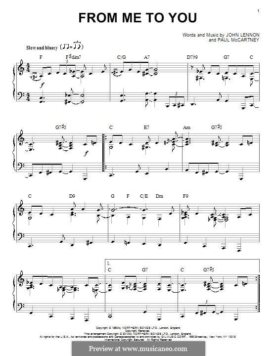 From Me to You (The Beatles): For piano by John Lennon, Paul McCartney