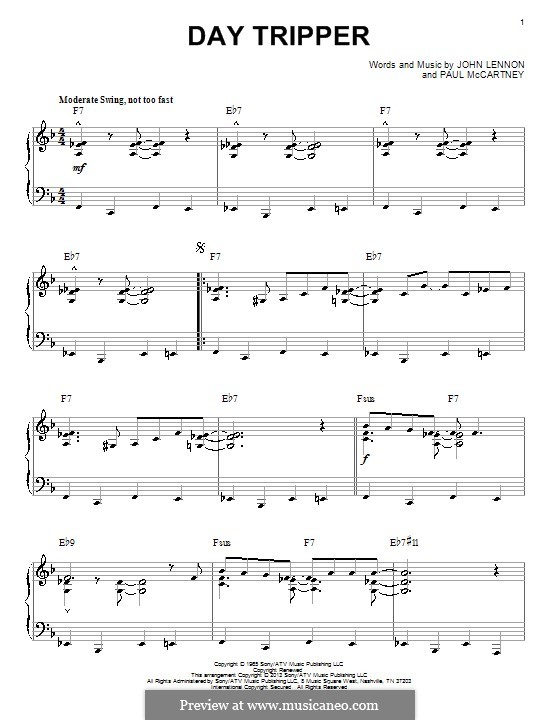 Day Tripper (The Beatles): For piano by John Lennon, Paul McCartney
