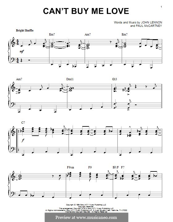 Can't Buy Me Love (The Beatles): For piano by John Lennon, Paul McCartney