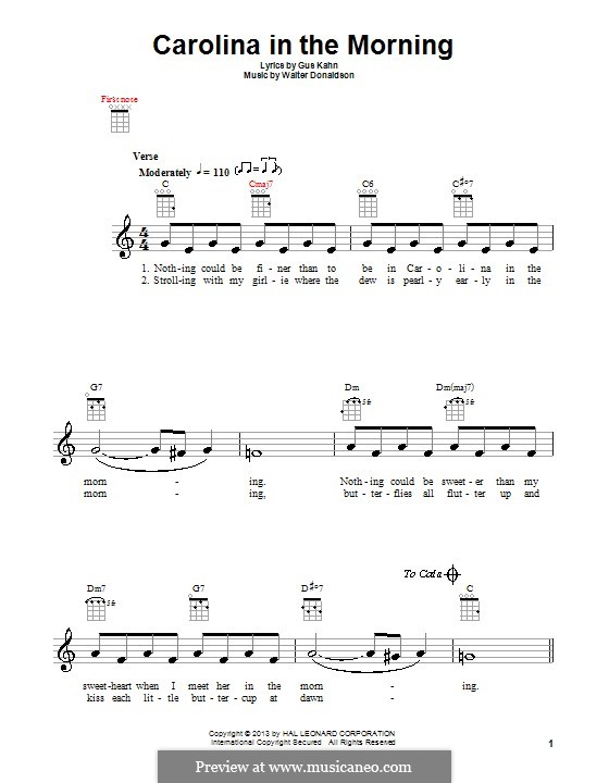 Carolina in the Morning: For ukulele by Walter Donaldson