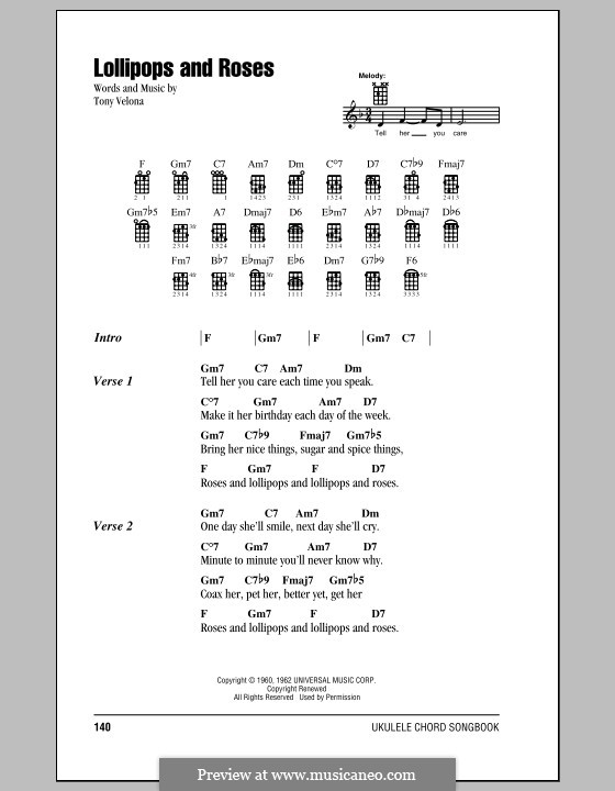 Lollipops and Roses (Jack Jones): For ukulele by Tony Velona