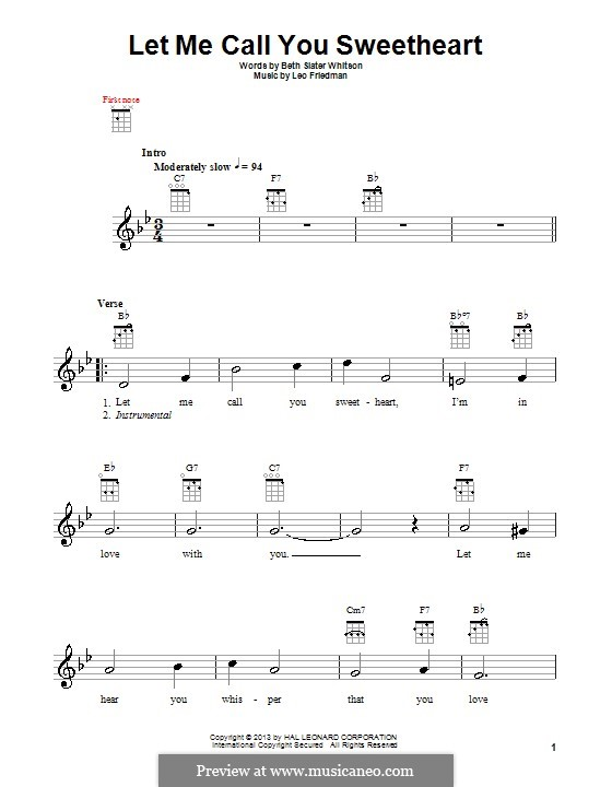 Let Me Call You Sweetheart: For ukulele by Leo Friedman