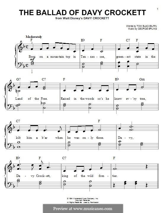The Ballad of Davy Crockett (from Davy Crockett): For piano by George Bruns