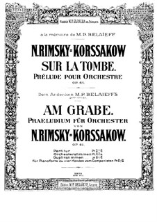 On the Tomb, Op.61: For piano four hands by Nikolai Rimsky-Korsakov