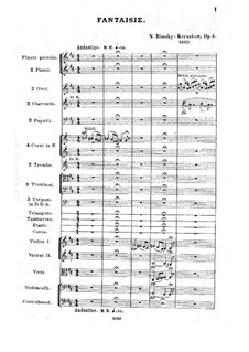 Fantasia on Serbian Themes, Op.6: Full score by Nikolai Rimsky-Korsakov