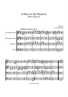 A Place in thy Memory: For brass quartet by Unknown (works before 1850)