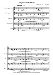 Jingle Those Bells: For brass quintet by James Lord Pierpont