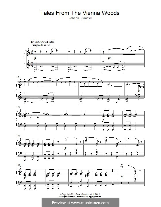 Tales from the Vienna Woods, Op.325: For piano by Johann Strauss (Sohn)