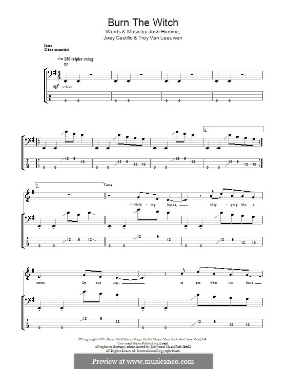 Burn the Witch (Queens of the Stone Age): For bass guitar with tab by Joey Castillo, Joshua Homme, Troy Van Leeuwen