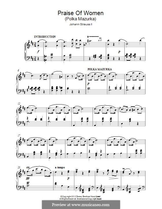 Praise of Women, Op.315: For piano by Johann Strauss (Sohn)