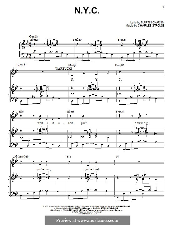 N.Y.C. (from Annie): For voice and piano (or guitar) by Charles Strouse