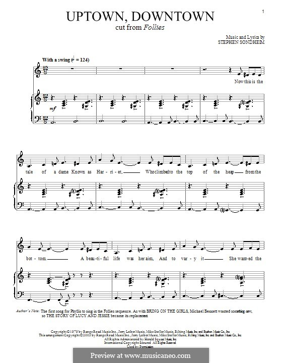 Uptown, Downtown: For voice and piano by Stephen Sondheim