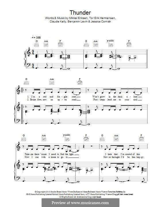 Thunder (Jessie J): For voice and piano (or guitar) by Benjamin Levin, Claude Kelly, Jessica Cornish, Mikkel Storleer Eriksen, Tor Erik Hermansen