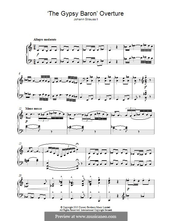 The Gypsy Baron: For piano by Johann Strauss (Sohn)