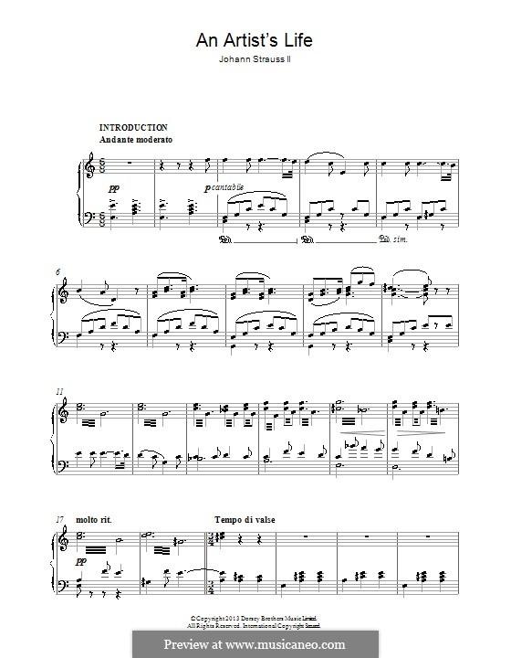 Artist's Life, Op.316: For piano by Johann Strauss (Sohn)