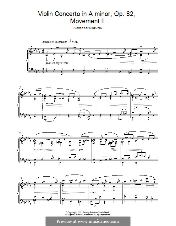 Concerto for Violin and Orchestra in A Minor, Op.82: Movement II. Version for piano by Alexander Glazunov