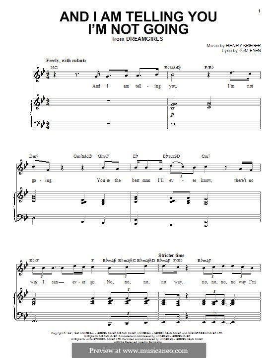 And I am Telling You I'm Not Going (Jennifer Hudson): For voice and piano by Henry Krieger