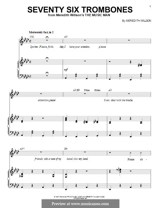 graphic about Free Printable Trombone Sheet Music named For voice and piano