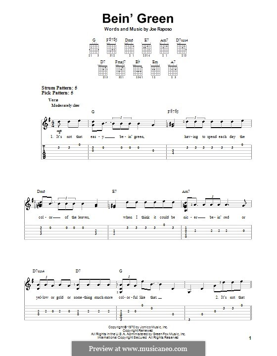 Bein' Green (Kermit the Frog): For guitar with tab by Joe Raposo