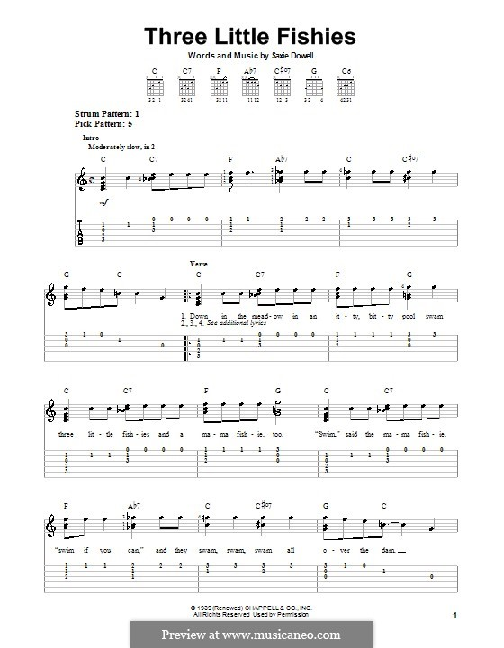 Three Little Fishes: For guitar with tab by Saxie Dowell