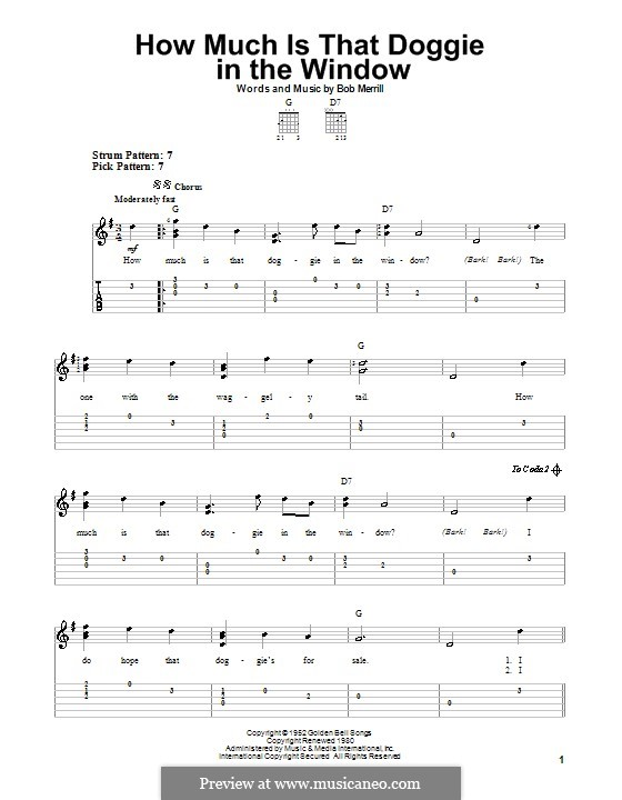 How Much is That Doggie in the Window: For guitar with tab by Bob Merrill