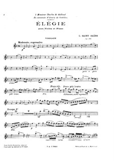 Elegy in F Major, Op.160: For violin and piano by Camille Saint-Saëns