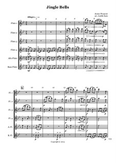 Jingle Bells: For flute sextet – score by James Lord Pierpont