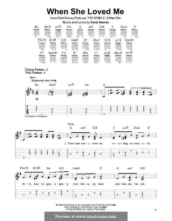 When She Loved Me (from Toy Story 2): For guitar with tab by Randy Newman