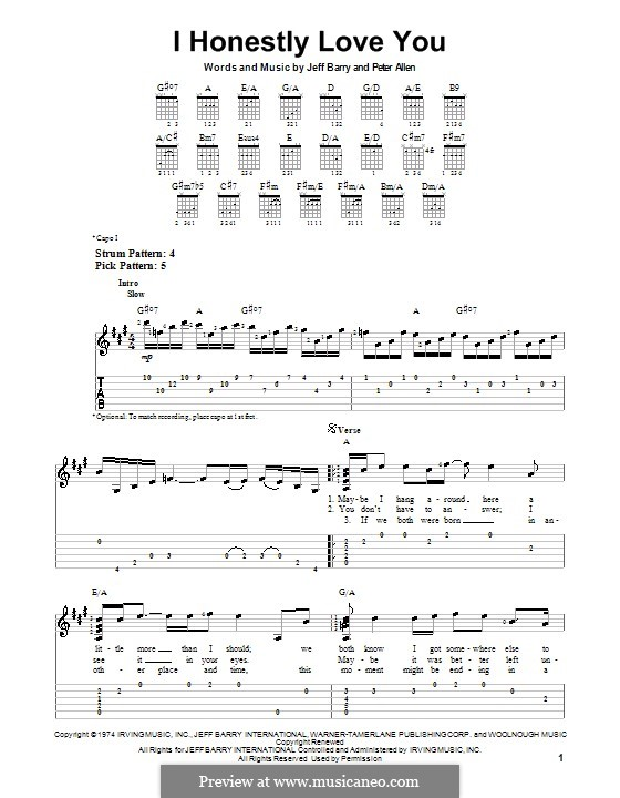 I Honestly Love You: For guitar with tab by Jeff Barry, Peter Allen