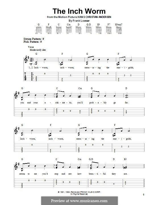 The Inch Worm (Paul McCartney): For guitar with tab by Frank Loesser