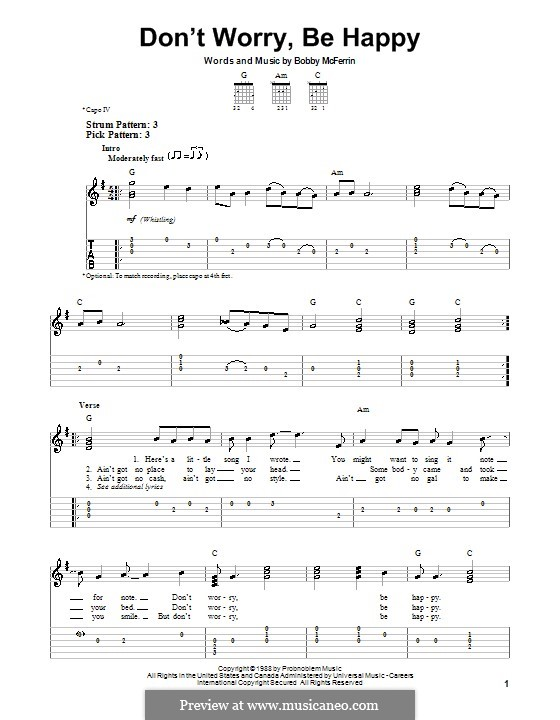 Don't Worry, Be Happy: For guitar with tab by Bobby McFerrin