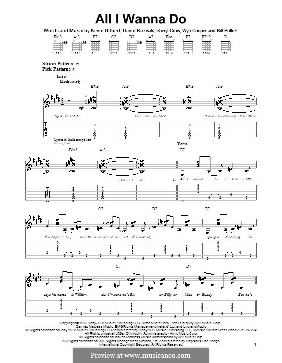 All I Wanna Do: For guitar with tab by Bill Bottrell, David Baerwald, Kevin Gilbert, Sheryl Crow, Wyn Cooper