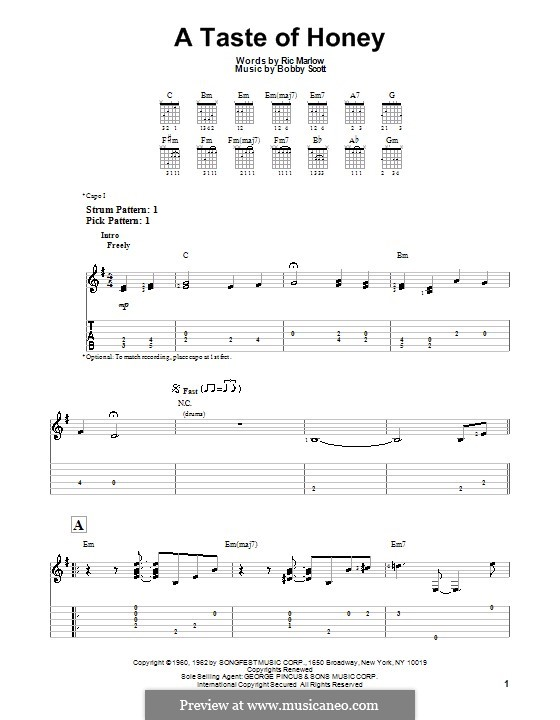 A Taste of Honey (Barbra Streisand): For guitar with tab by Bobby Scott