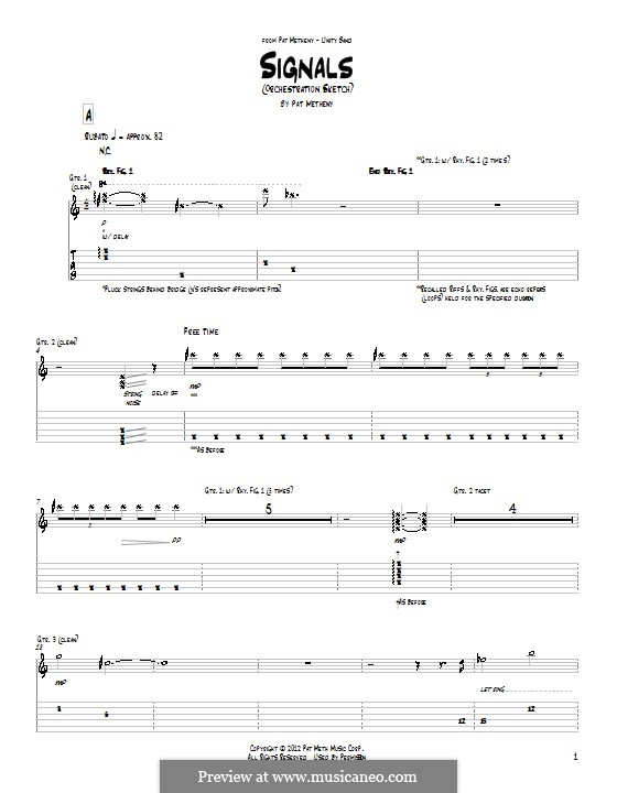 Signals (Orchestrion Sketch): For guitar with tab by Pat Metheny