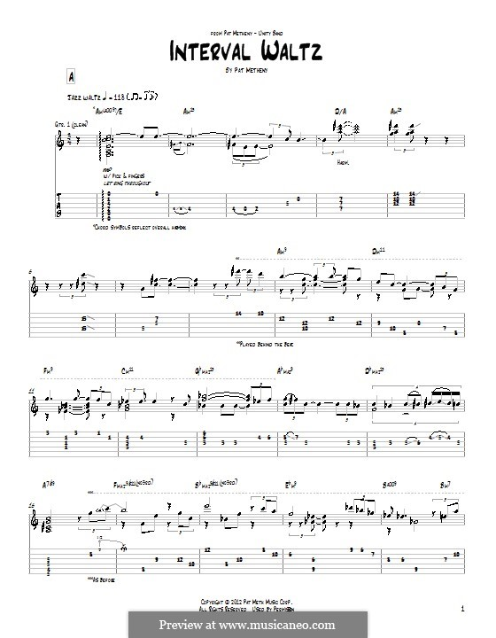 Interval Waltz: For guitar with tab by Pat Metheny