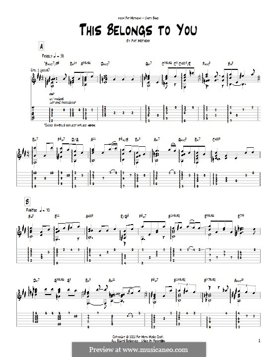 This Belongs To You: For guitar with tab by Pat Metheny
