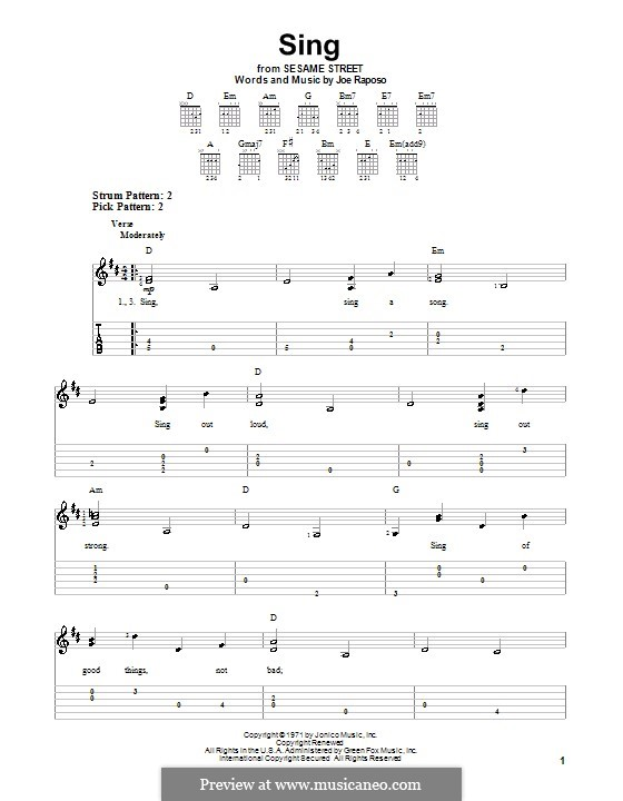 Sing (The Carpenters): For guitar with tab by Joe Raposo