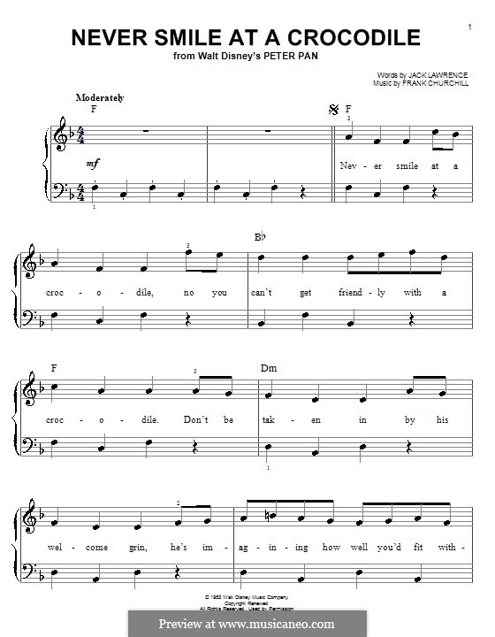 Never Smile at a Crocodile: For piano by Frank Churchill