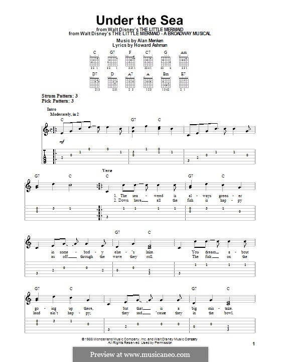 Under the Sea (from The Little Mermaid): For guitar with tab by Alan Menken
