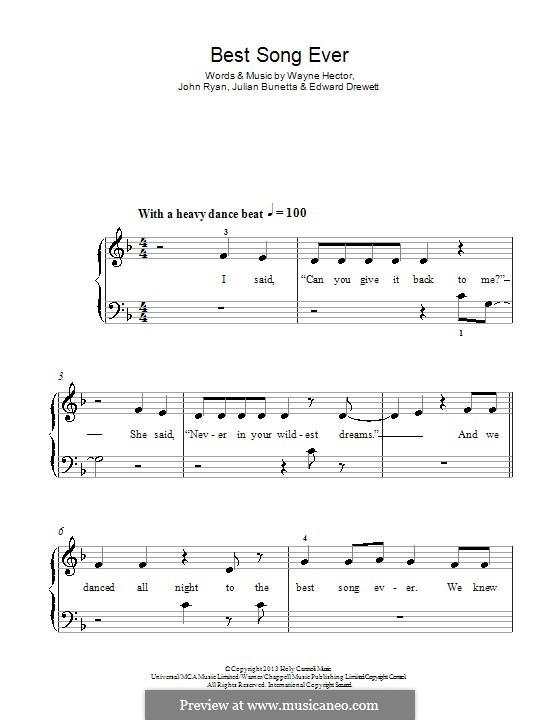 Best Song Ever (One Direction): For piano by Ed Drewett, Julian Bunetta, Wayne Anthony Hector, John Henry Ryan