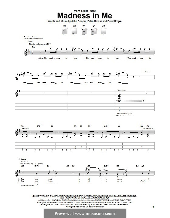 Madness in Me (Skillet): For guitar with tab by Brian Howes, David Hodges, John Cooper