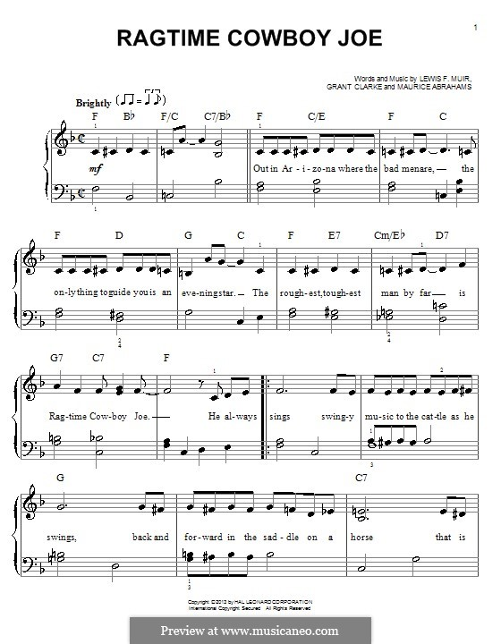 Ragtime Cowboy Joe (Belle Baker): For piano by Maurice Abrahams, Grant Clarke, Lewis F. Muir