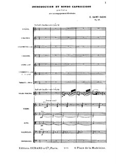 Introduction and Rondo Capriccioso, Op.28: Full score by Camille Saint-Saëns