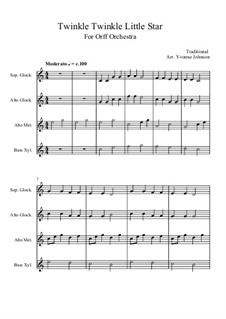 Twinkle, Twinkle Little Star: For orff orchestra by folklore